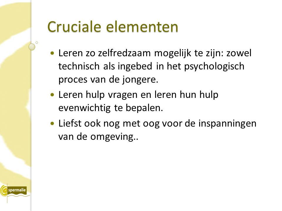 Cruciale elementen Leren zo zelfredzaam mogelijk te zijn: zowel technisch als ingebed in het psychologisch proces van de jongere.