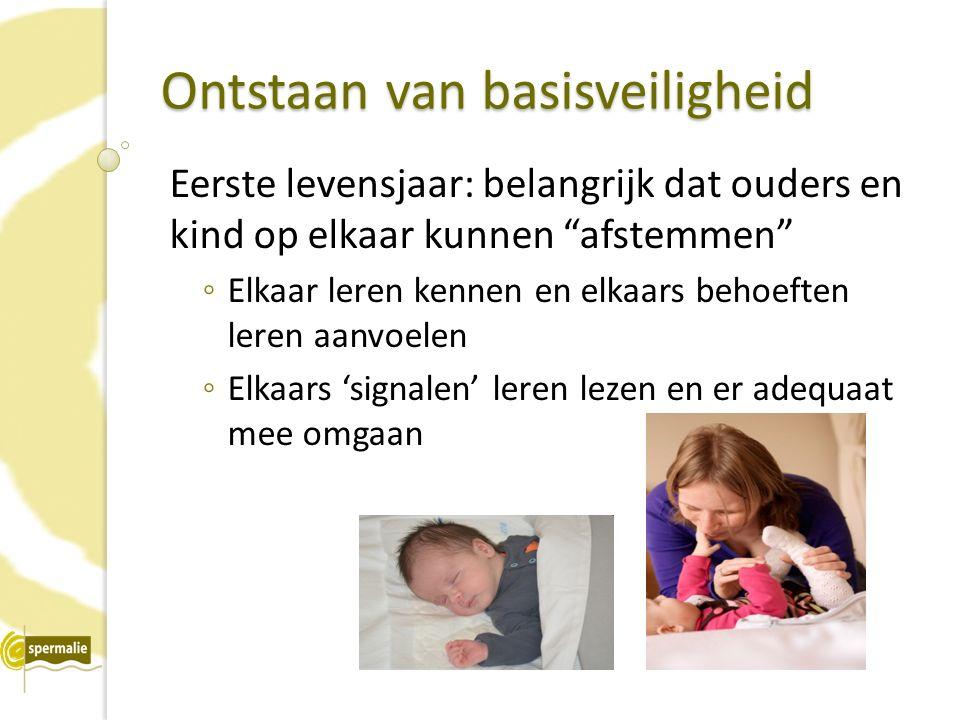 Ontstaan van basisveiligheid Eerste levensjaar: belangrijk dat ouders en kind op elkaar kunnen afstemmen ◦ Elkaar leren kennen en elkaars behoeften leren aanvoelen ◦ Elkaars 'signalen' leren lezen en er adequaat mee omgaan