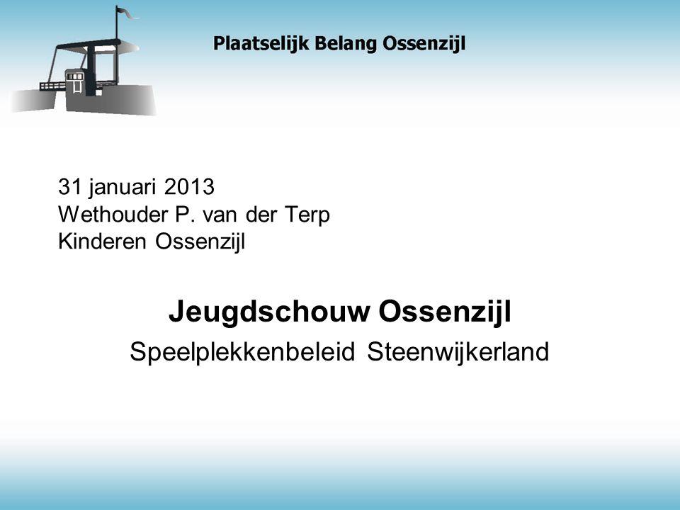 31 januari 2013 Wethouder P. van der Terp Kinderen Ossenzijl Jeugdschouw Ossenzijl Speelplekkenbeleid Steenwijkerland