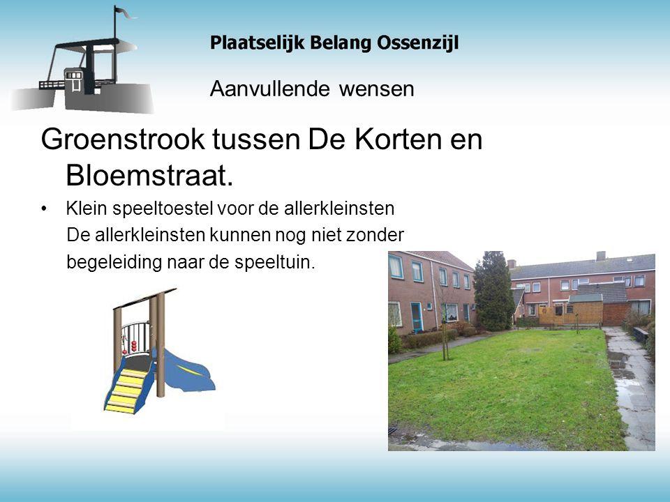 Aanvullende wensen Groenstrook tussen De Korten en Bloemstraat.