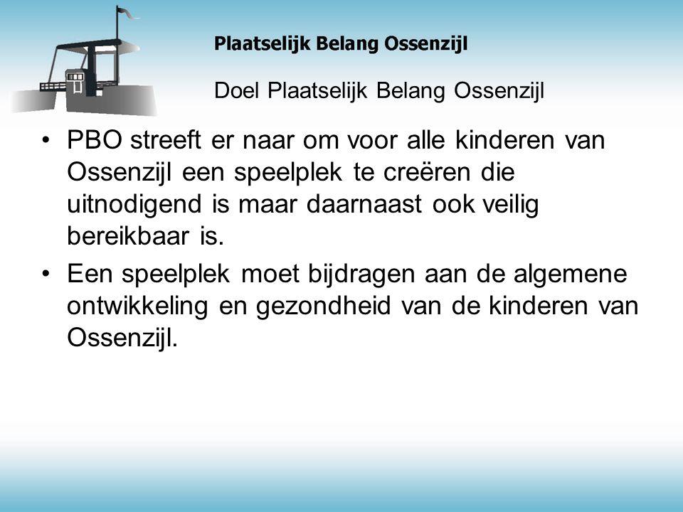 Doel Plaatselijk Belang Ossenzijl PBO streeft er naar om voor alle kinderen van Ossenzijl een speelplek te creëren die uitnodigend is maar daarnaast ook veilig bereikbaar is.