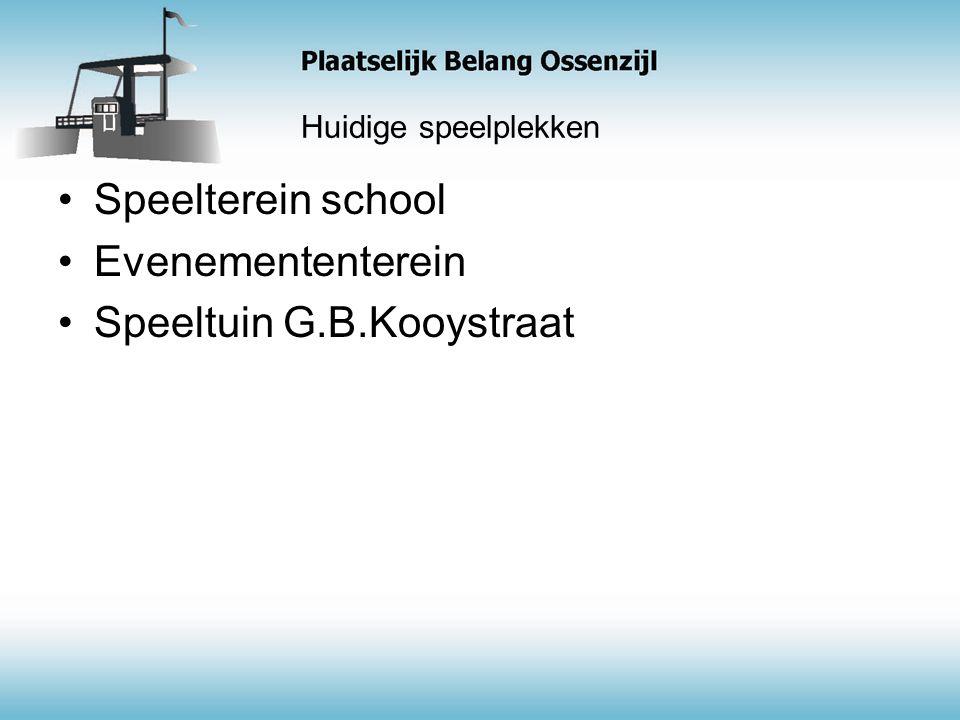 Huidige speelplekken Speelterein school Evenemententerein Speeltuin G.B.Kooystraat