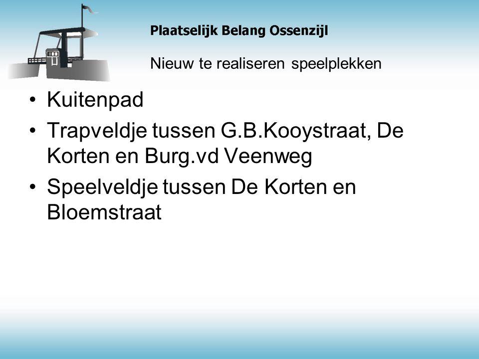 Nieuw te realiseren speelplekken Kuitenpad Trapveldje tussen G.B.Kooystraat, De Korten en Burg.vd Veenweg Speelveldje tussen De Korten en Bloemstraat