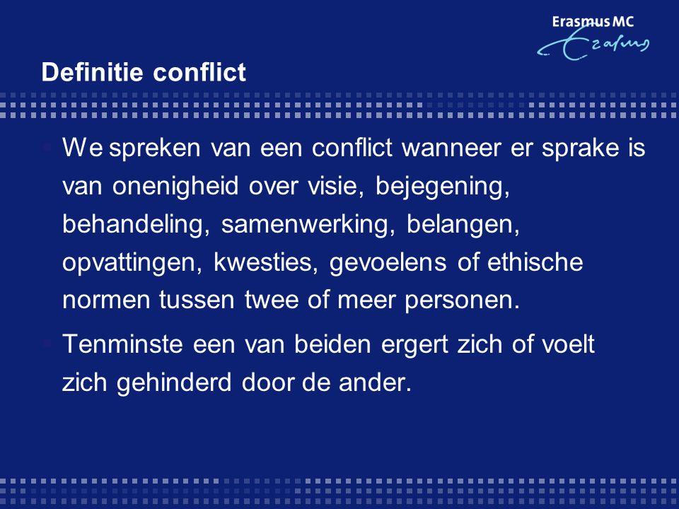 Conflicthantering op drie niveaus  Persoonlijke stijl: een stabiel patroon van reageren in allerlei conflictsituaties.