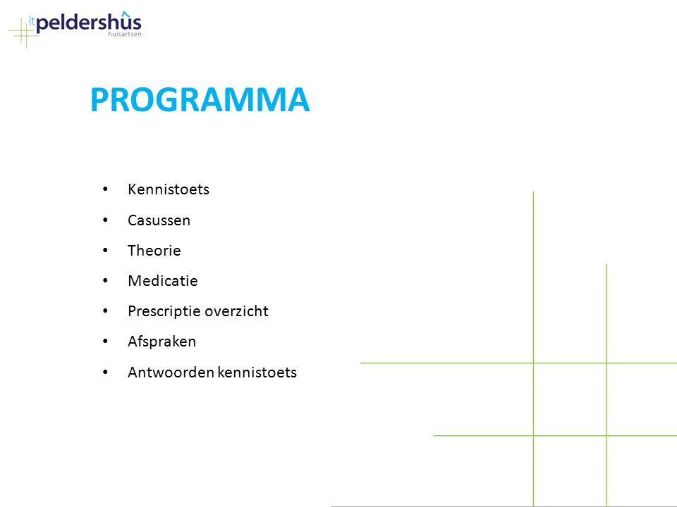 PROGRAMMA Kennistoets Casussen Theorie Medicatie Prescriptie overzicht Afspraken Antwoorden kennistoets