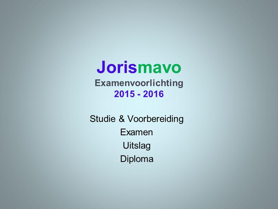 Jorismavo Examenvoorlichting 2015 - 2016 Studie & Voorbereiding Examen Uitslag Diploma