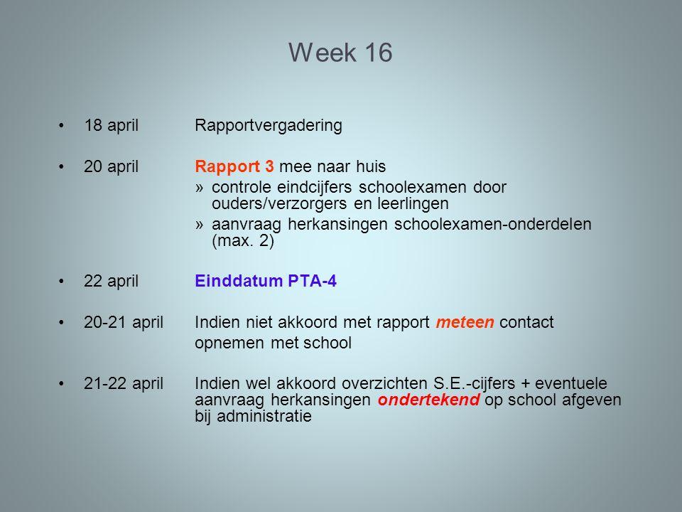 Week 17 Maandag 25 en dinsdag 26 april Herkansingen S.E.