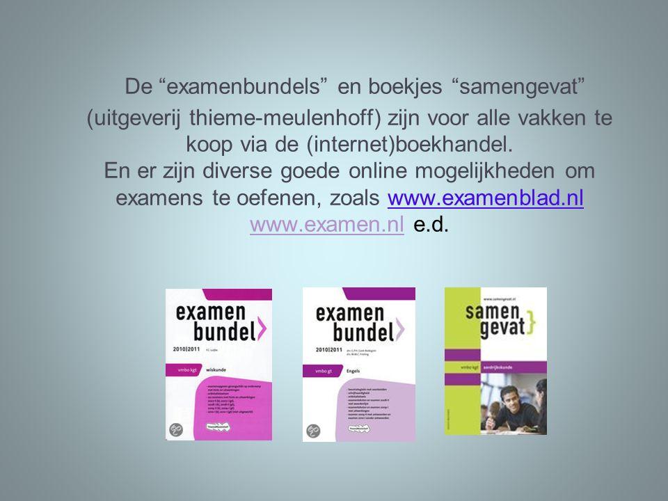 """De """"examenbundels"""" en boekjes """"samengevat"""" (uitgeverij thieme-meulenhoff) zijn voor alle vakken te koop via de (internet)boekhandel. En er zijn divers"""