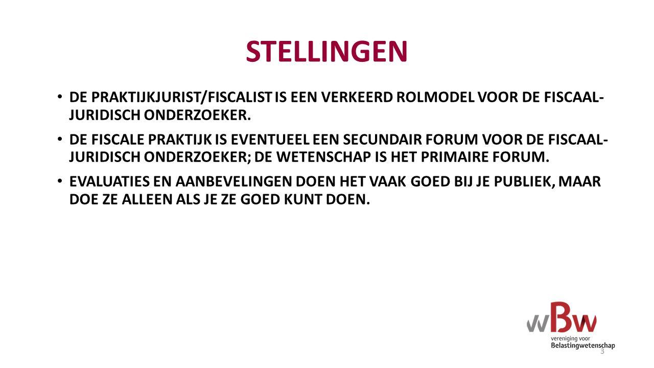 STELLINGEN DE PRAKTIJKJURIST/FISCALIST IS EEN VERKEERD ROLMODEL VOOR DE FISCAAL- JURIDISCH ONDERZOEKER.