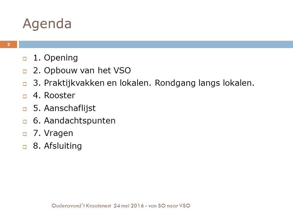 Agenda Ouderavond 't Kraaienest 24 mei 2016 - van SO naar VSO 2  1. Opening  2. Opbouw van het VSO  3. Praktijkvakken en lokalen. Rondgang langs lo