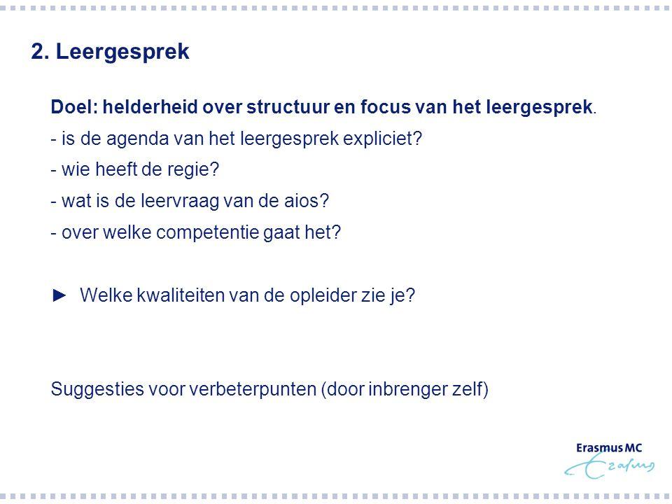 2. Leergesprek  Doel: helderheid over structuur en focus van het leergesprek.