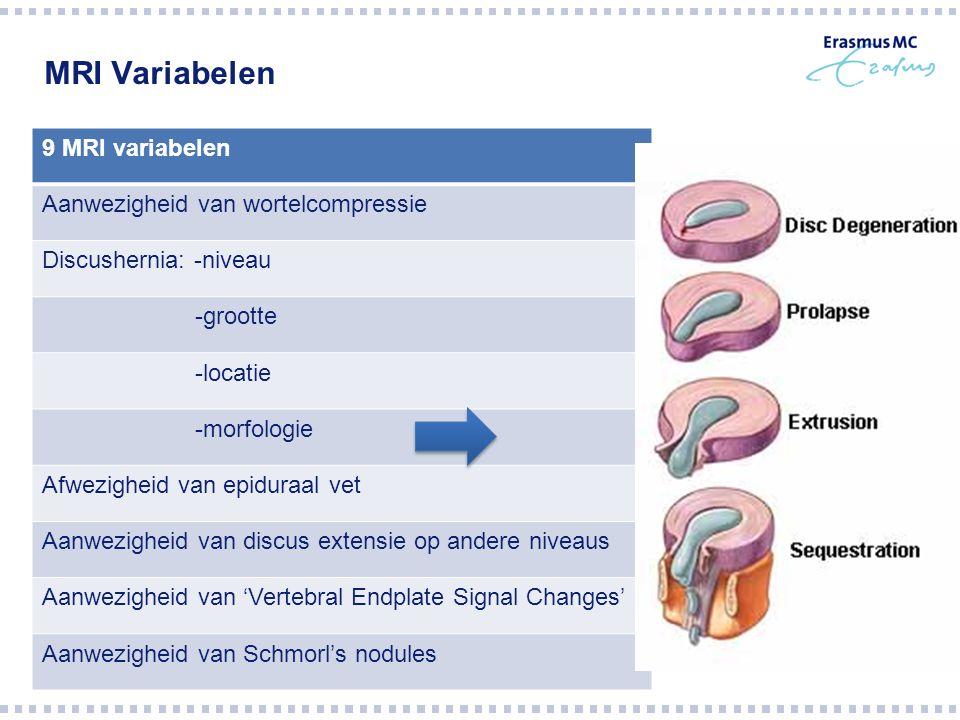 MRI Variabelen 9 MRI variabelen Aanwezigheid van wortelcompressie Discushernia: -niveau -grootte -locatie -morfologie Afwezigheid van epiduraal vet Aanwezigheid van discus extensie op andere niveaus Aanwezigheid van 'Vertebral Endplate Signal Changes' Aanwezigheid van Schmorl's nodules