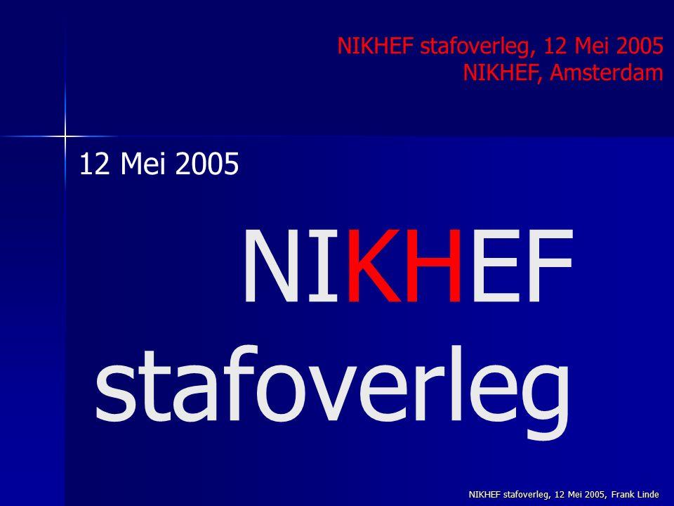 NIKHEF stafoverleg, 12 Mei 2005, Frank Linde NIKHEF stafoverleg NIKHEF stafoverleg, 12 Mei 2005 NIKHEF, Amsterdam 12 Mei 2005