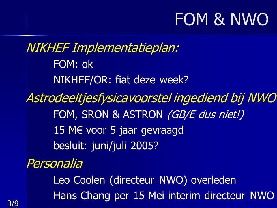 3/9 FOM & NWO NIKHEF Implementatieplan: FOM: ok NIKHEF/OR: fiat deze week? Astrodeeltjesfysicavoorstel ingediend bij NWO FOM, SRON & ASTRON (GB/E dus