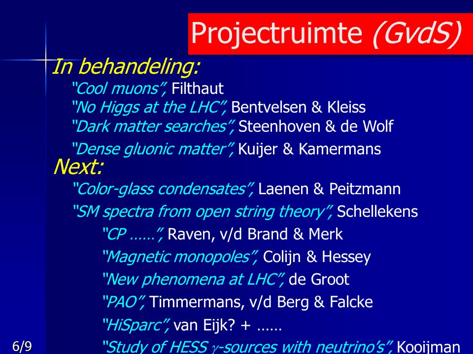 6/9 Projectruimte (GvdS) In behandeling: Cool muons , Filthaut No Higgs at the LHC , Bentvelsen & Kleiss Dark matter searches , Steenhoven & de Wolf Dense gluonic matter , Kuijer & Kamermans Next: Color-glass condensates , Laenen & Peitzmann SM spectra from open string theory , Schellekens CP …… , Raven, v/d Brand & Merk Magnetic monopoles , Colijn & Hessey New phenomena at LHC , de Groot PAO , Timmermans, v/d Berg & Falcke HiSparc , van Eijk.