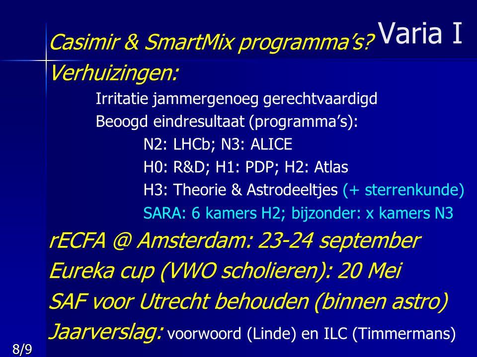 8/9 Varia I Casimir & SmartMix programma's? Verhuizingen: Irritatie jammergenoeg gerechtvaardigd Beoogd eindresultaat (programma's): N2: LHCb; N3: ALI