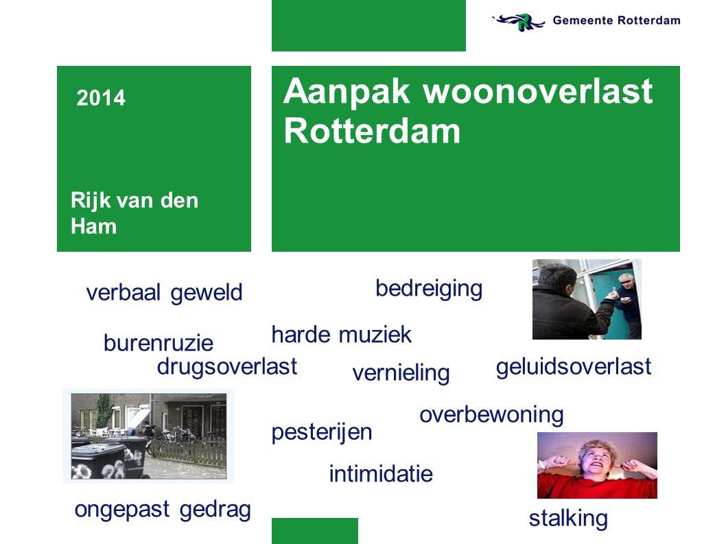 Aanpak woonoverlast Rotterdam 2014 Rijk van den Ham verbaal geweld burenruzie harde muziek drugsoverlast pesterijen ongepast gedrag vernieling overbewoning geluidsoverlast intimidatie bedreiging stalking