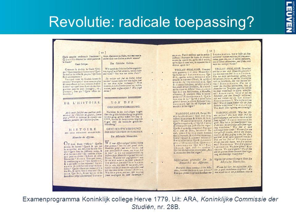 Revolutie: radicale toepassing. Examenprogramma Koninklijk college Herve 1779.