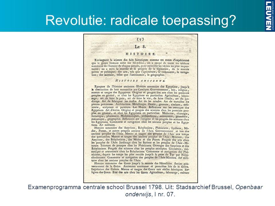 Revolutie: radicale toepassing. Examenprogramma centrale school Brussel 1798.