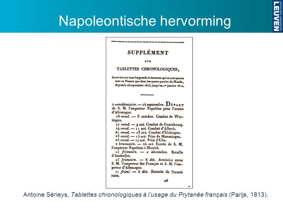 Napoleontische hervorming Antoine Sérieys, Tablettes chronologiques à l'usage du Prytanée français (Parijs, 1813).