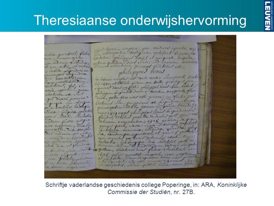Theresiaanse onderwijshervorming Schriftje vaderlandse geschiedenis college Poperinge, in: ARA, Koninklijke Commissie der Studiën, nr.