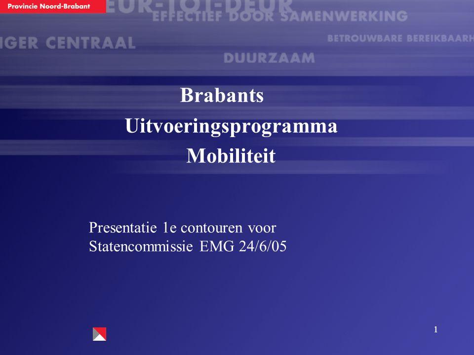 1 Brabants Uitvoeringsprogramma Mobiliteit Presentatie 1e contouren voor Statencommissie EMG 24/6/05