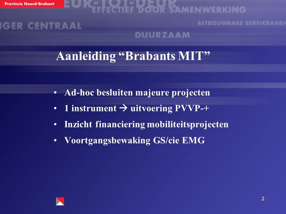 """2 Aanleiding """"Brabants MIT"""" Ad-hoc besluiten majeure projecten 1 instrument  uitvoering PVVP-+ Inzicht financiering mobiliteitsprojecten Voortgangsbe"""