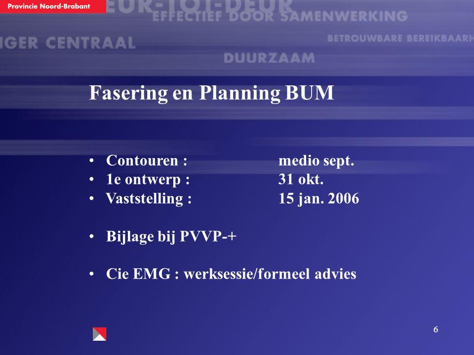 6 Fasering en Planning BUM Contouren :medio sept. 1e ontwerp :31 okt. Vaststelling :15 jan. 2006 Bijlage bij PVVP-+ Cie EMG :werksessie/formeel advies