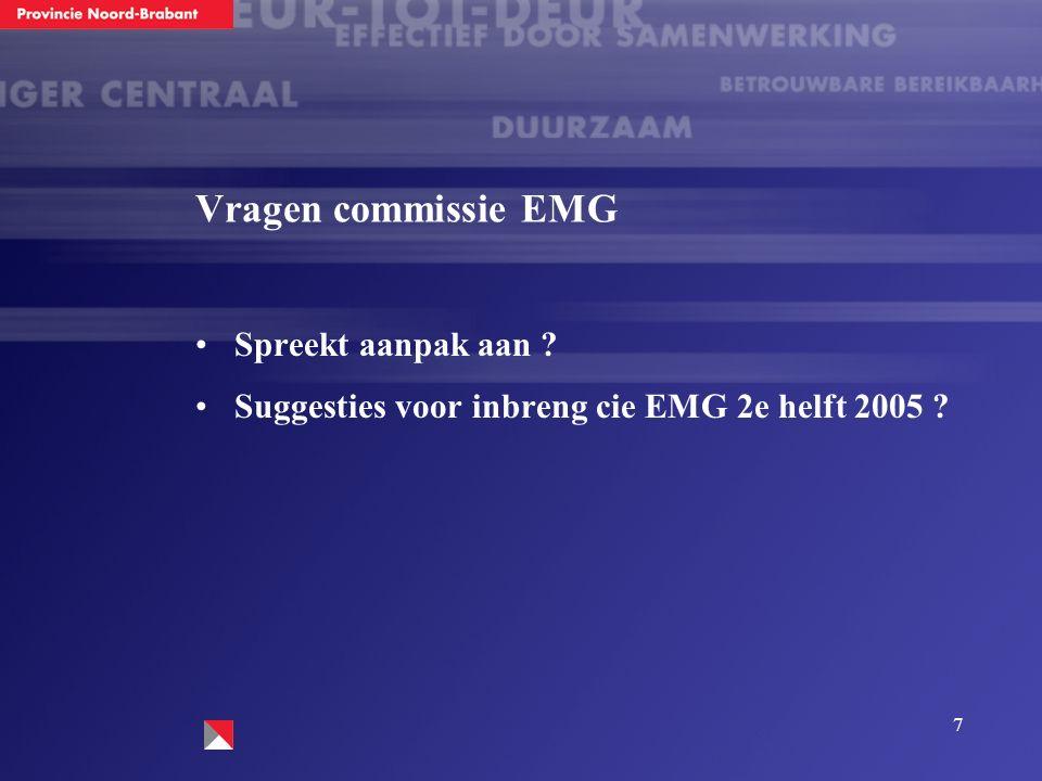 7 Vragen commissie EMG Spreekt aanpak aan Suggesties voor inbreng cie EMG 2e helft 2005