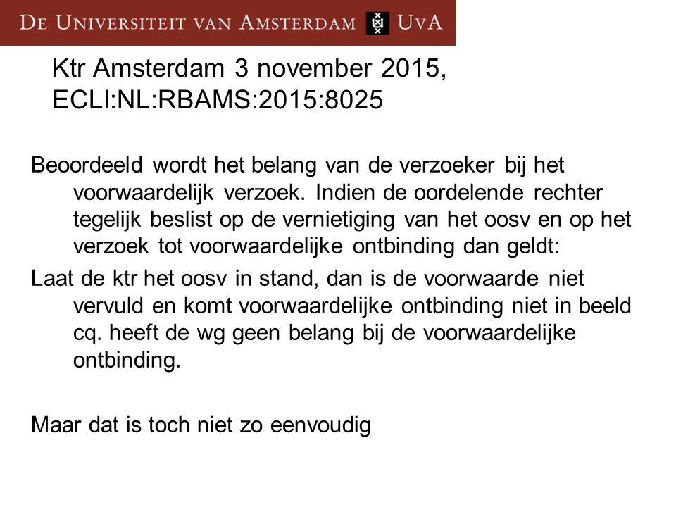 Ktr Amsterdam 3 november 2015, ECLI:NL:RBAMS:2015:8025 Beoordeeld wordt het belang van de verzoeker bij het voorwaardelijk verzoek. Indien de oordelen