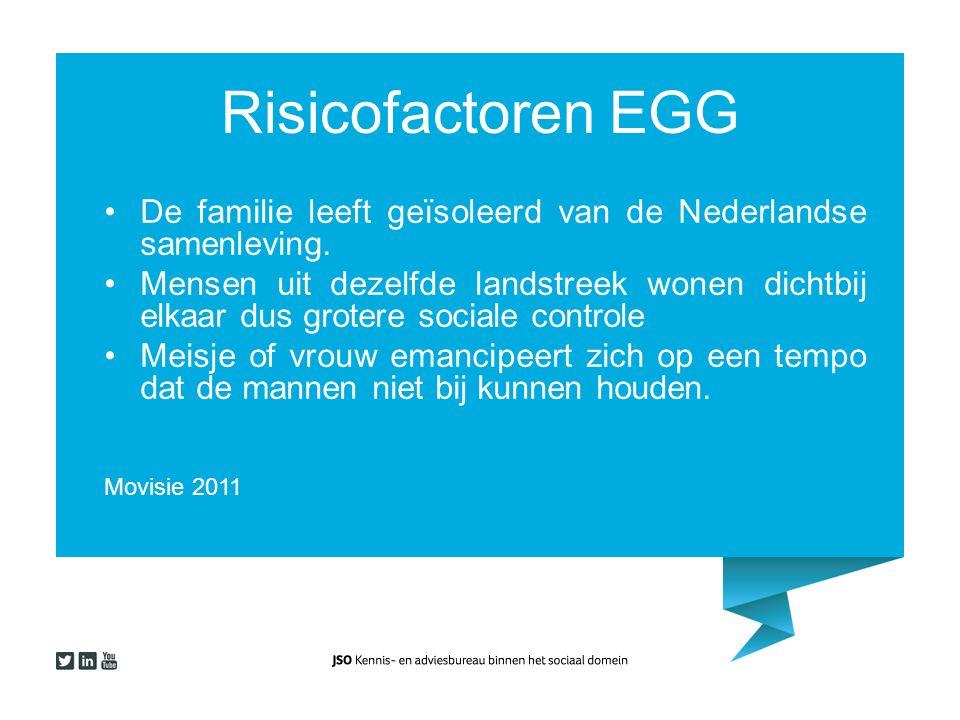 Risicofactoren EGG De familie leeft geïsoleerd van de Nederlandse samenleving. Mensen uit dezelfde landstreek wonen dichtbij elkaar dus grotere social