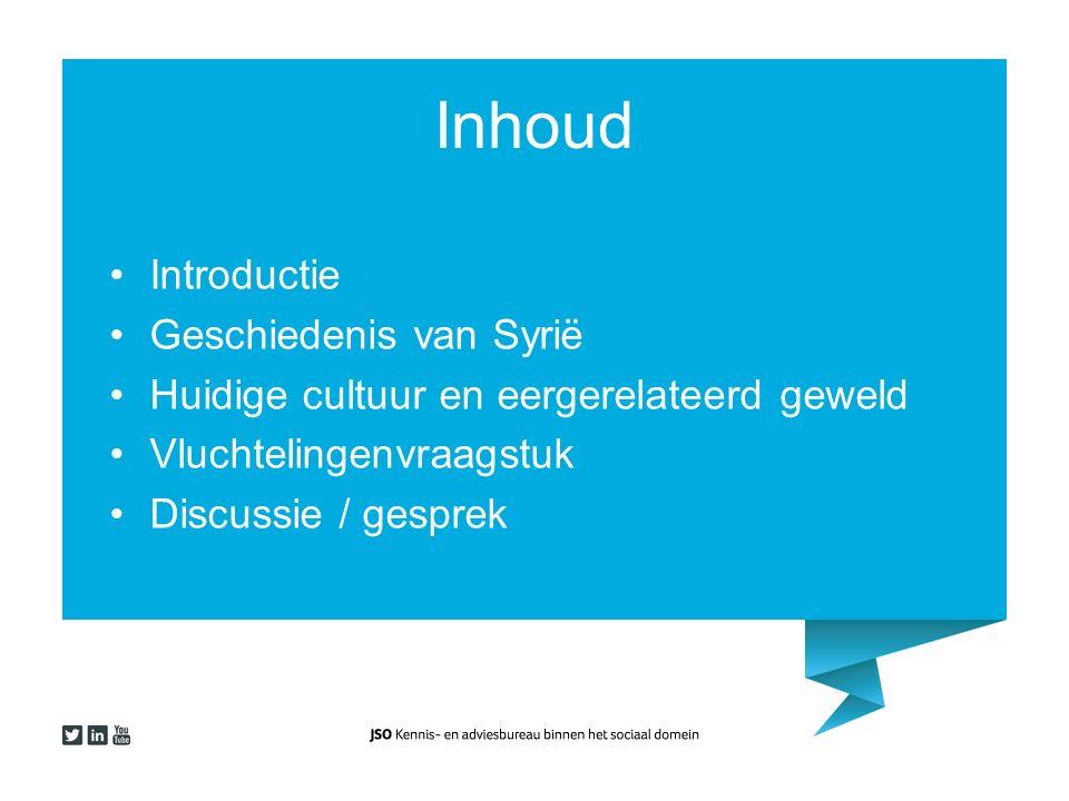 Inhoud Introductie Geschiedenis van Syrië Huidige cultuur en eergerelateerd geweld Vluchtelingenvraagstuk Discussie / gesprek