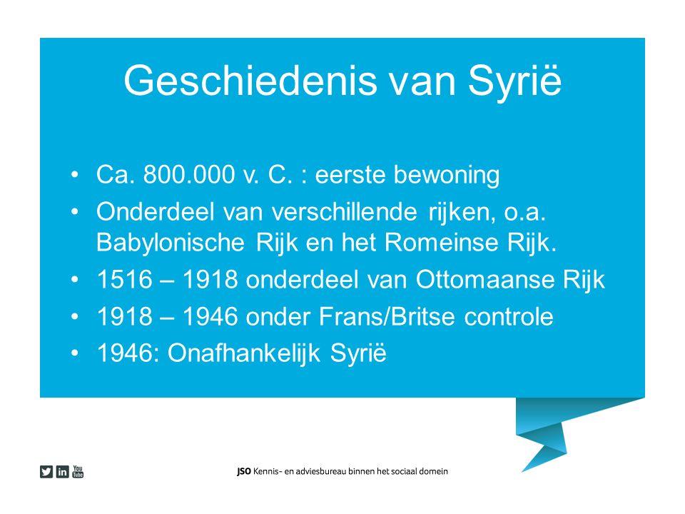 Geschiedenis van Syrië Ca. 800.000 v. C. : eerste bewoning Onderdeel van verschillende rijken, o.a. Babylonische Rijk en het Romeinse Rijk. 1516 – 191