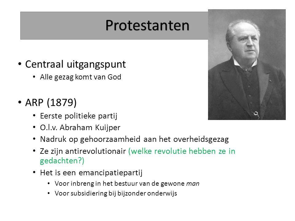Protestanten Centraal uitgangspunt Alle gezag komt van God ARP (1879) Eerste politieke partij O.l.v. Abraham Kuijper Nadruk op gehoorzaamheid aan het