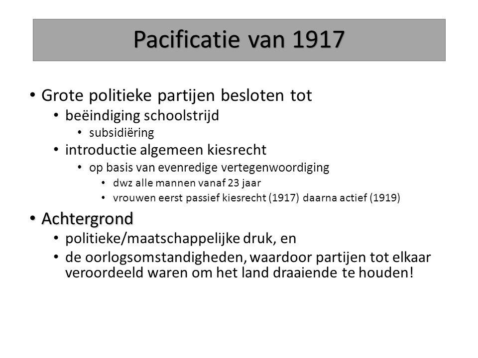 Pacificatie van 1917 Grote politieke partijen besloten tot beëindiging schoolstrijd subsidiëring introductie algemeen kiesrecht op basis van evenredig