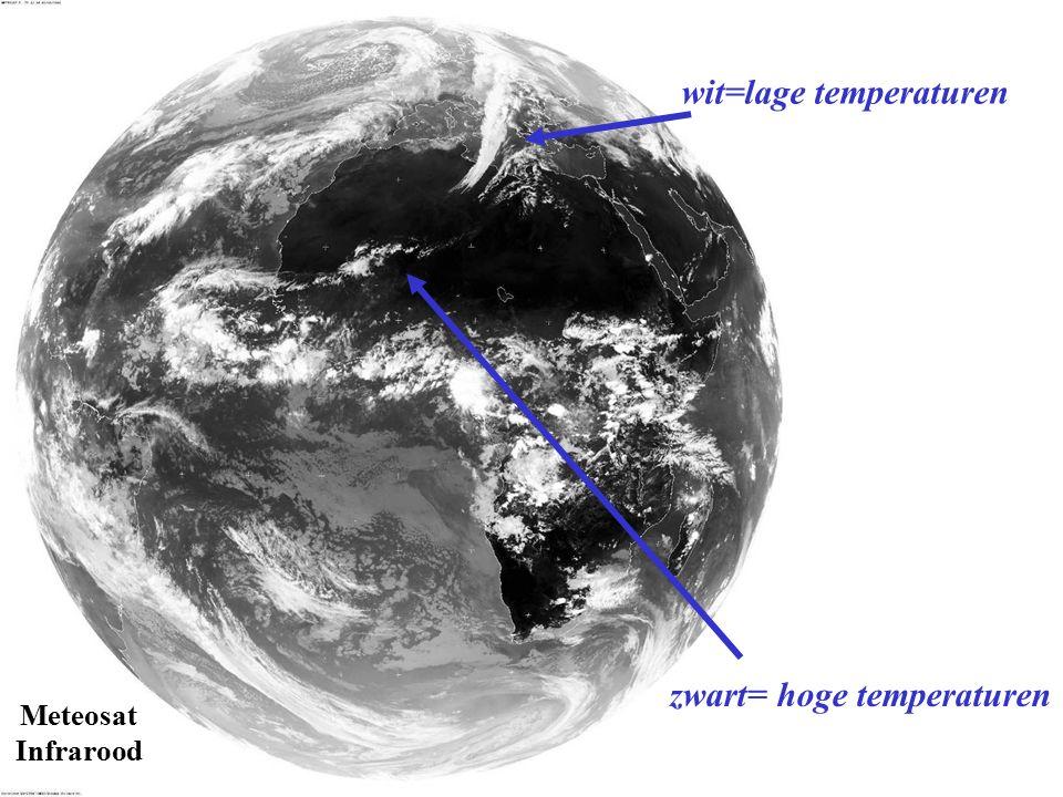 Meteosat Infrarood wit=lage temperaturen zwart= hoge temperaturen