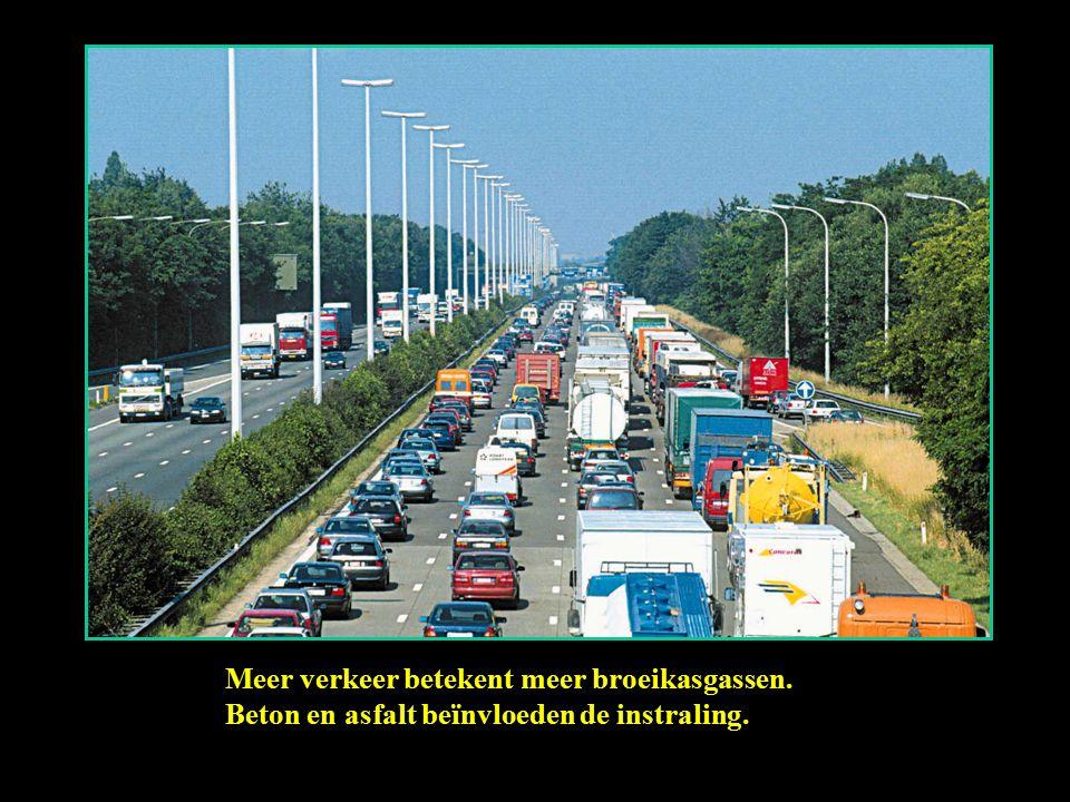 Meer verkeer betekent meer broeikasgassen. Beton en asfalt beïnvloeden de instraling.