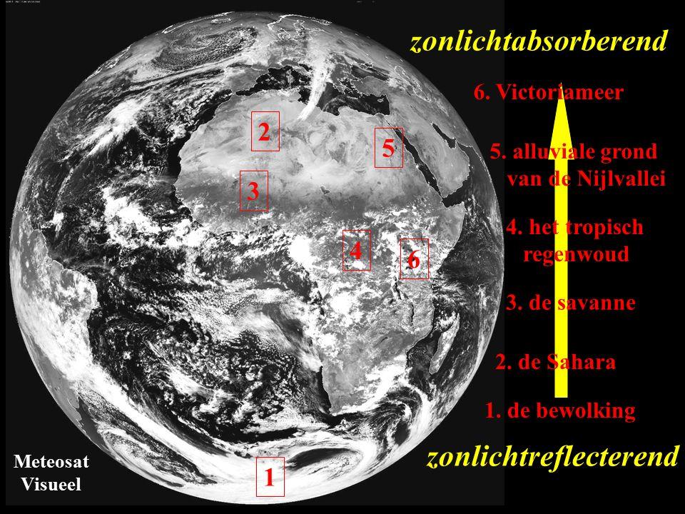 Meteosat Visueel zonlichtabsorberend 6 6. Victoriameer 5 5. alluviale grond van de Nijlvallei 4 4. het tropisch regenwoud 3 3. de savanne 2 2. de Saha