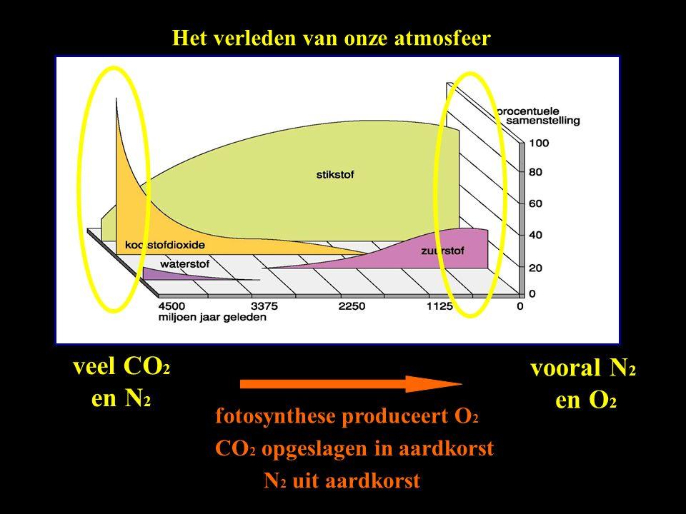 Het verleden van onze atmosfeer veel CO 2 en N 2 vooral N 2 en O 2 fotosynthese produceert O 2 CO 2 opgeslagen in aardkorst N 2 uit aardkorst
