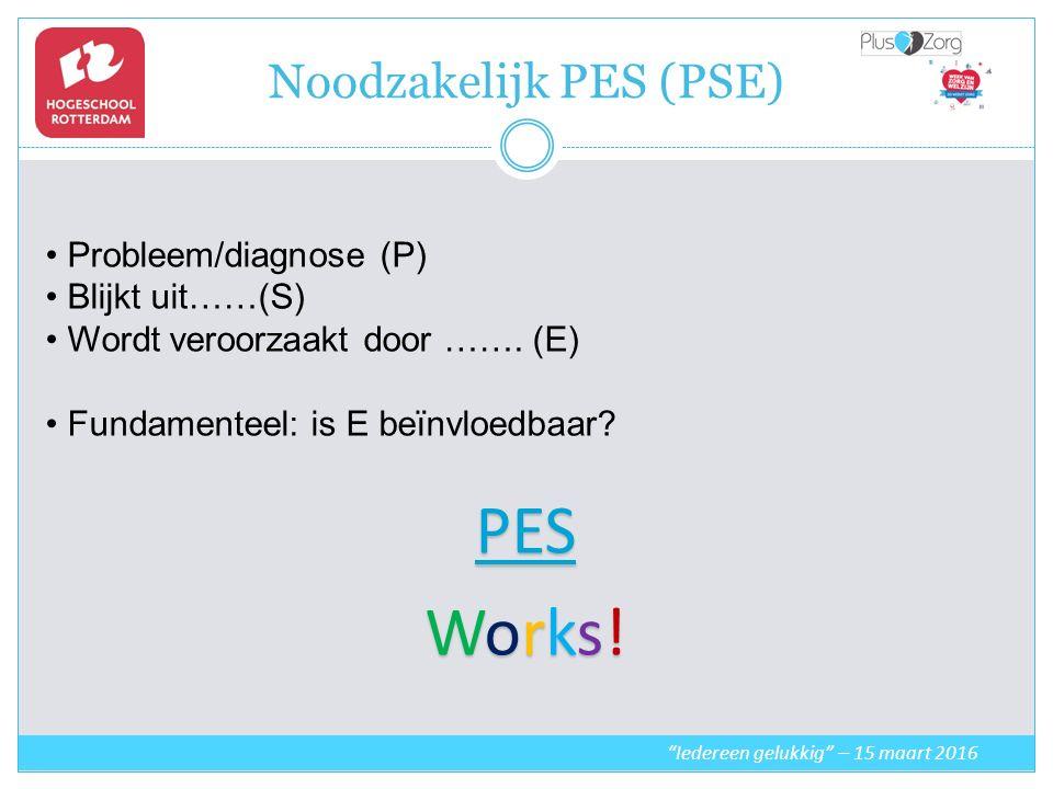 Noodzakelijk PES (PSE) Iedereen gelukkig – 15 maart 2016 Probleem/diagnose (P) Blijkt uit……(S) Wordt veroorzaakt door …….