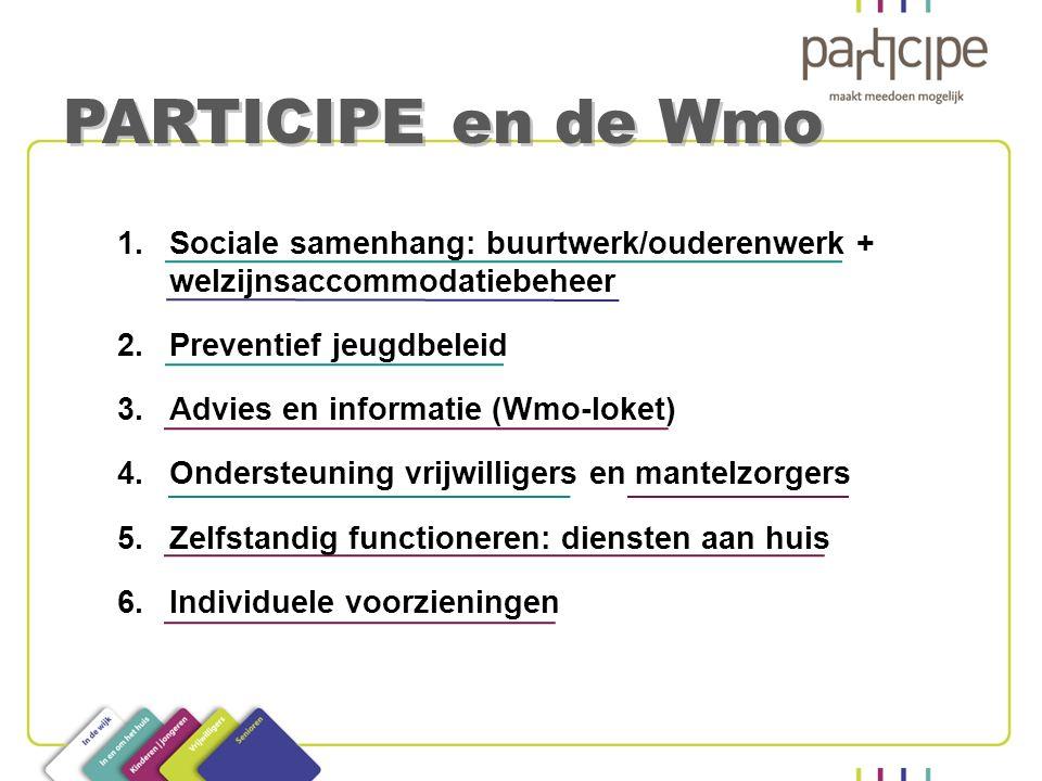 1.Sociale samenhang: buurtwerk/ouderenwerk + welzijnsaccommodatiebeheer 2.Preventief jeugdbeleid 3.Advies en informatie (Wmo-loket) 4.Ondersteuning vr