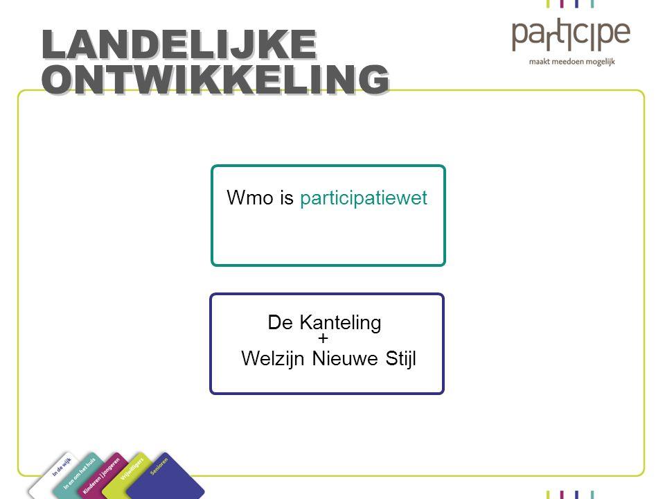 Wmo is participatiewet De Kanteling Welzijn Nieuwe Stijl LANDELIJKE ONTWIKKELING +