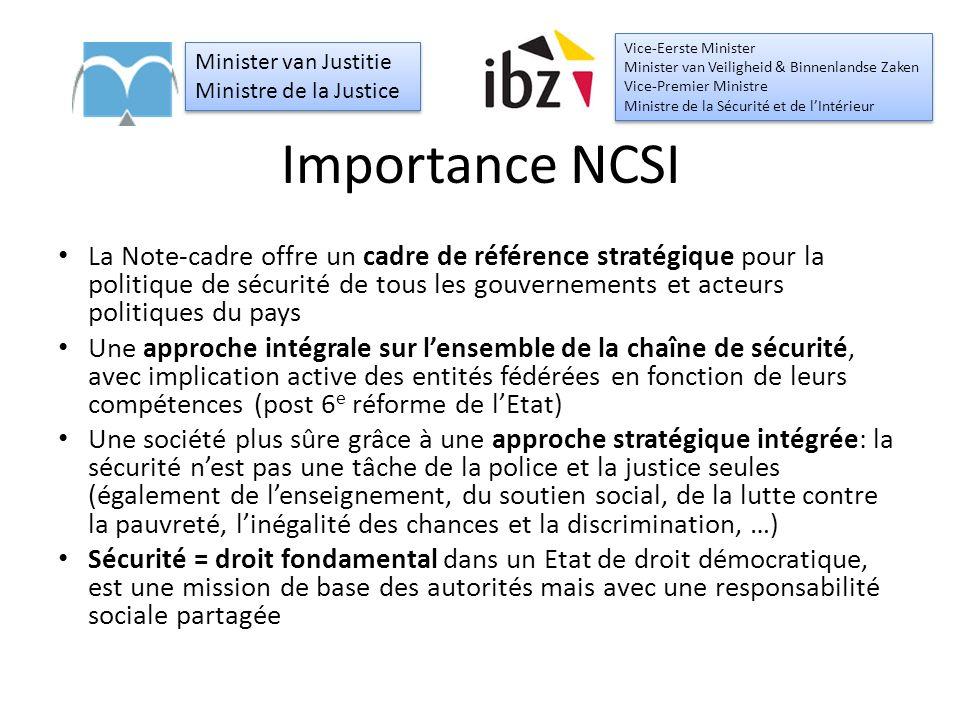 Importance NCSI La Note-cadre offre un cadre de référence stratégique pour la politique de sécurité de tous les gouvernements et acteurs politiques du pays Une approche intégrale sur l'ensemble de la chaîne de sécurité, avec implication active des entités fédérées en fonction de leurs compétences (post 6 e réforme de l'Etat) Une société plus sûre grâce à une approche stratégique intégrée: la sécurité n'est pas une tâche de la police et la justice seules (également de l'enseignement, du soutien social, de la lutte contre la pauvreté, l'inégalité des chances et la discrimination, …) Sécurité = droit fondamental dans un Etat de droit démocratique, est une mission de base des autorités mais avec une responsabilité sociale partagée Minister van Justitie Ministre de la Justice Minister van Justitie Ministre de la Justice Vice-Eerste Minister Minister van Veiligheid & Binnenlandse Zaken Vice-Premier Ministre Ministre de la Sécurité et de l'Intérieur Vice-Eerste Minister Minister van Veiligheid & Binnenlandse Zaken Vice-Premier Ministre Ministre de la Sécurité et de l'Intérieur