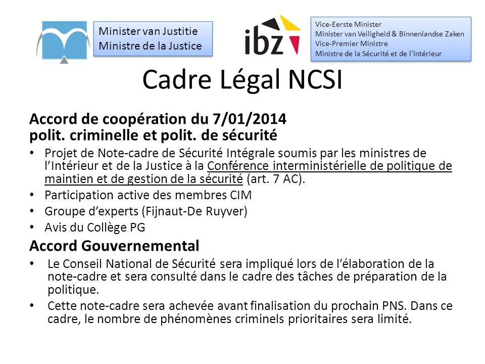 Cadre Légal NCSI Accord de coopération du 7/01/2014 polit.