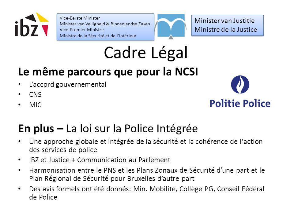 Cadre Légal Le même parcours que pour la NCSI L'accord gouvernemental CNS MIC En plus – La loi sur la Police Intégrée Une approche globale et intégrée de la sécurité et la cohérence de l action des services de police IBZ et Justice + Communication au Parlement Harmonisation entre le PNS et les Plans Zonaux de Sécurité d'une part et le Plan Régional de Sécurité pour Bruxelles d'autre part Des avis formels ont été donnés: Min.