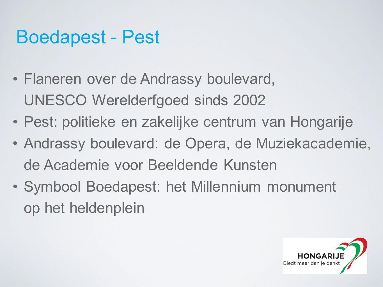 Boedapest - Pest Flaneren over de Andrassy boulevard, UNESCO Werelderfgoed sinds 2002 Pest: politieke en zakelijke centrum van Hongarije Andrassy boulevard: de Opera, de Muziekacademie, de Academie voor Beeldende Kunsten Symbool Boedapest: het Millennium monument op het heldenplein