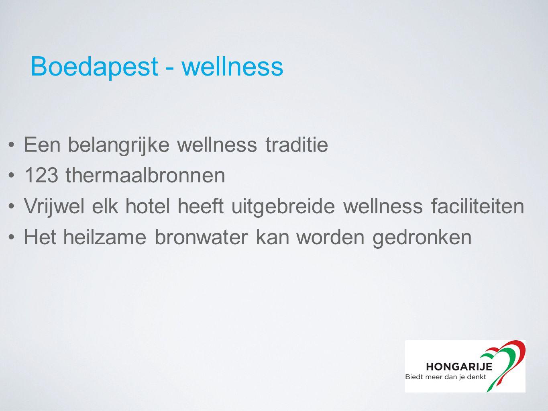Boedapest - wellness Een belangrijke wellness traditie 123 thermaalbronnen Vrijwel elk hotel heeft uitgebreide wellness faciliteiten Het heilzame bronwater kan worden gedronken