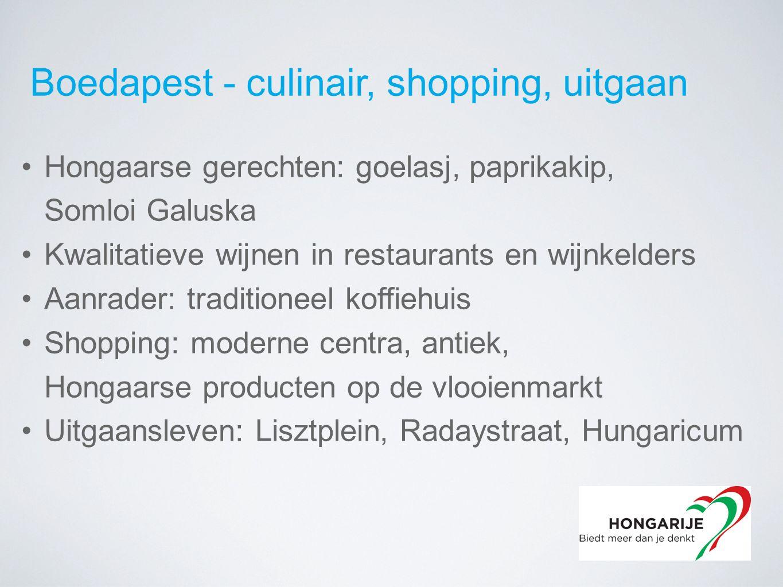 Boedapest - culinair, shopping, uitgaan Hongaarse gerechten: goelasj, paprikakip, Somloi Galuska Kwalitatieve wijnen in restaurants en wijnkelders Aanrader: traditioneel koffiehuis Shopping: moderne centra, antiek, Hongaarse producten op de vlooienmarkt Uitgaansleven: Lisztplein, Radaystraat, Hungaricum
