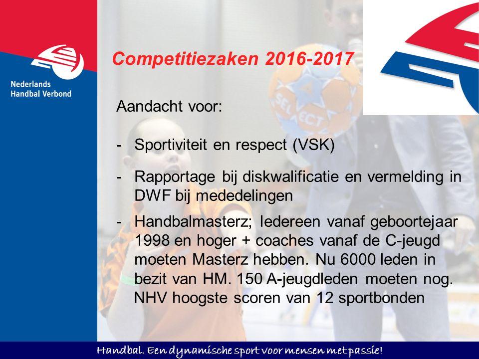 Handbal. Een dynamische sport voor mensen met passie! Competitiezaken 2016-2017 Aandacht voor: -Sportiviteit en respect (VSK) -Rapportage bij diskwali