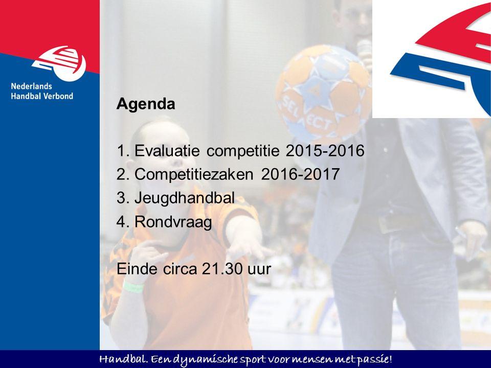 Handbal. Een dynamische sport voor mensen met passie! Agenda 1. Evaluatie competitie 2015-2016 2. Competitiezaken 2016-2017 3. Jeugdhandbal 4. Rondvra